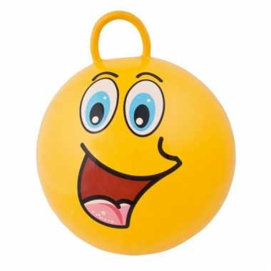 Gele skippybal met grappig gezicht 45cm