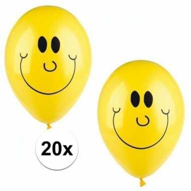 Gele smiley ballonnen 20 stuks