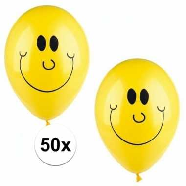 Gele smiley ballonnen 50 stuks