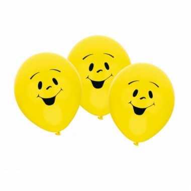 Gele smiley ballonnen 6 stuks