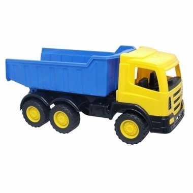 Gele speelgoed truck met laadklep