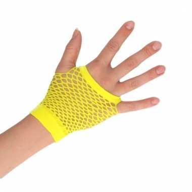 Gele verkleed handschoenen met gaatjes voor dames/heren