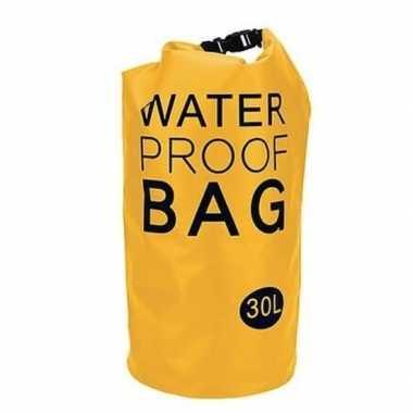 Gele waterdichte strandtas 30 liter