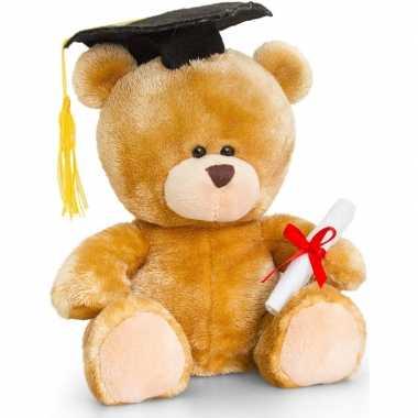 Geslaagd beertje knuffeldier met diploma 20 cm cadeau voor afgestudee