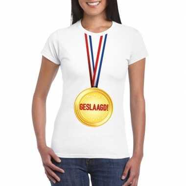 Geslaagd t-shirt wit met medaille dames