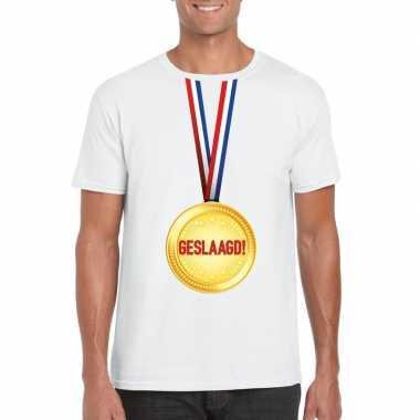 Geslaagd t-shirt wit met medaille heren
