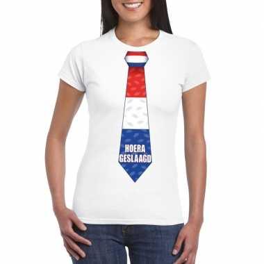 Geslaagd t-shirt wit met stropdas dames