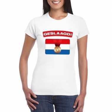 Geslaagd t-shirt wit met vlag dames