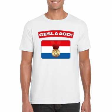Geslaagd t-shirt wit met vlag heren