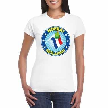 Geslaagd t-shirt wit met vlaggenmast en tas dames