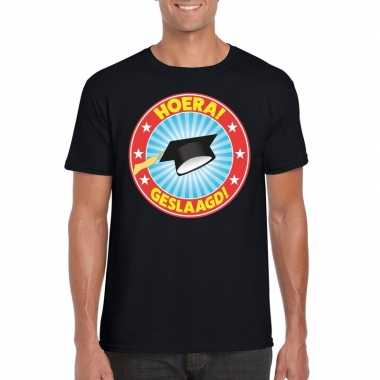 Geslaagd t-shirt zwart met afstudeerhoedje heren