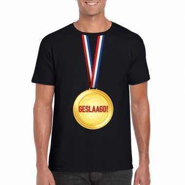 Geslaagd t-shirt zwart met medaille heren