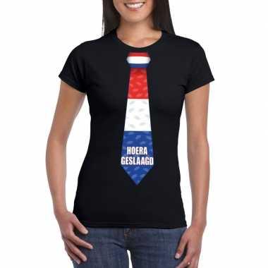 Geslaagd t-shirt zwart met stropdas dames