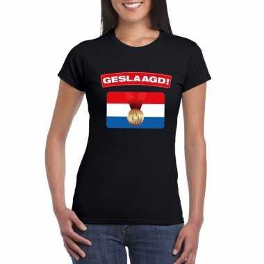 Geslaagd t-shirt zwart met vlag dames