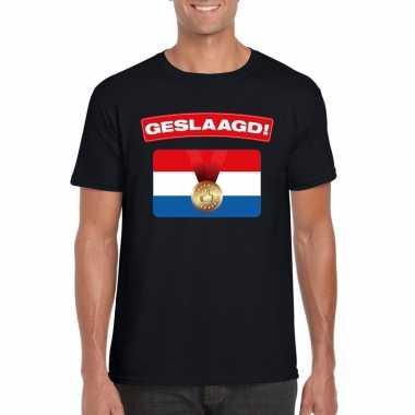 Geslaagd t-shirt zwart met vlag heren