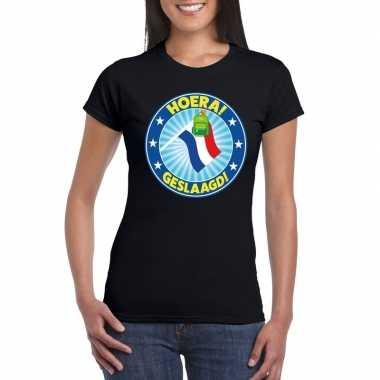 Geslaagd t-shirt zwart met vlaggenmast en tas dames