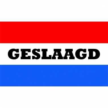 Geslaagd versiering vlag rood met wit en blauw 150x90 cm