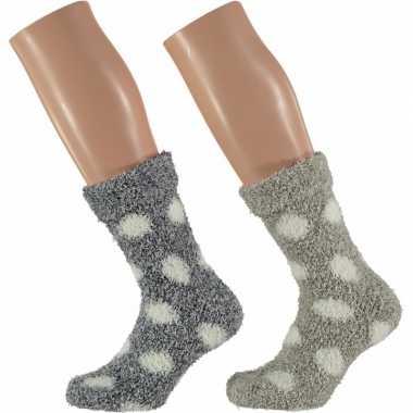 Gestipte huis/bank dames sokken grijs en beige