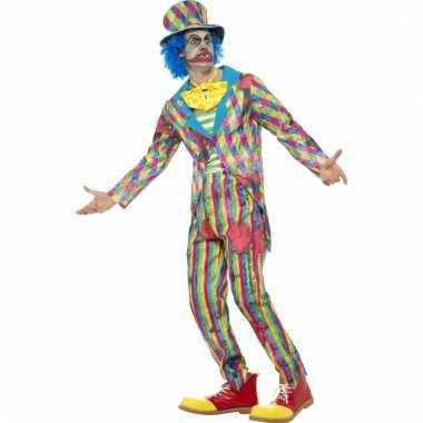 Gestreept horror clown verkleedkostuum voor mannen