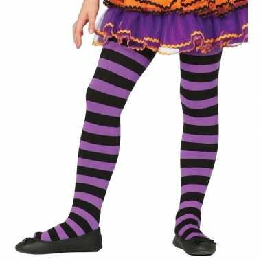 Gestreepte panty paars/zwart voor meisjes 5-9 jaar
