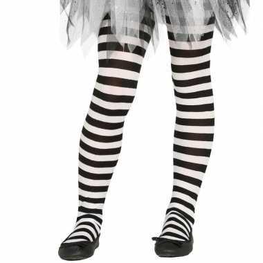 Gestreepte panty wit/zwart voor meisjes 5-9 jaar
