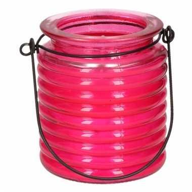 Geurkaars citroen anti muggen in roze glas
