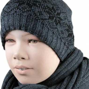 Gevoerde nordic muts grijs voor kinderen