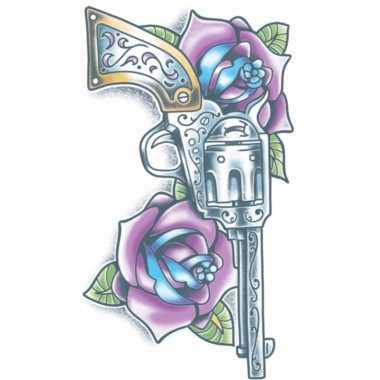 Geweer tattoo met paarse rozen