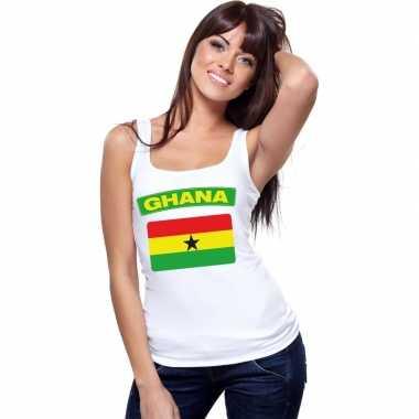 Ghana vlag mouwloos shirt wit dames
