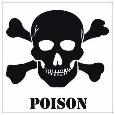 Giftig gevaarsymbool sticker 10,5 cm