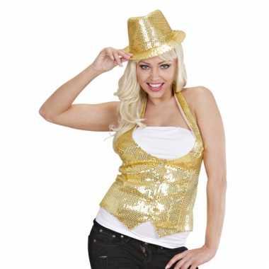 Giletje goud met pailletten voor dames