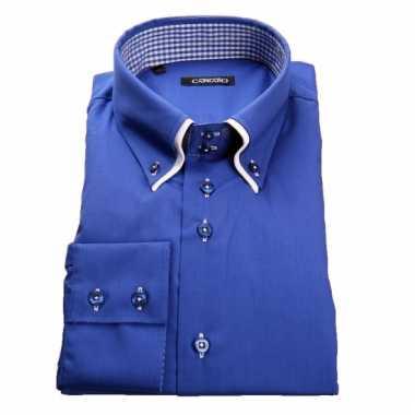 Giovanni blauw heren overhemd