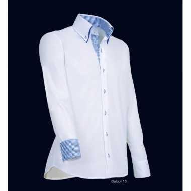 Giovanni wit met blauw heren overhemd