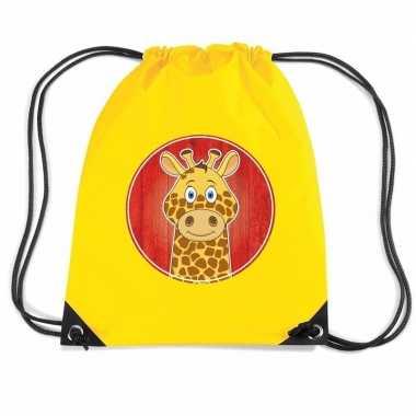 Giraf dieren trekkoord rugzak / gymtas geel voor kinderen