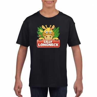 Giraffe dieren t-shirt zwart voor kinderen