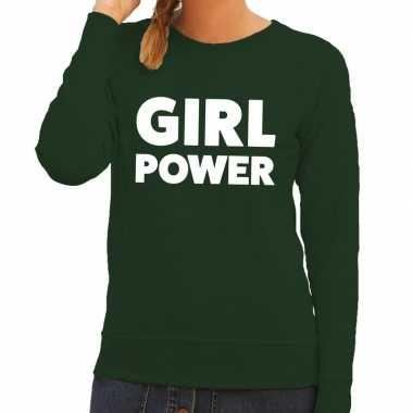 Girl power fun sweater groen voor dames