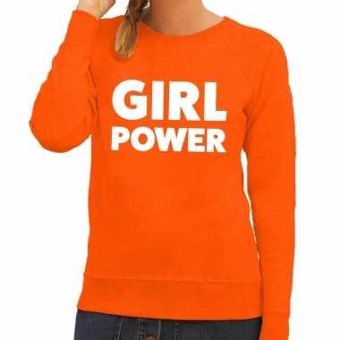 Girl power fun sweater oranje voor dames