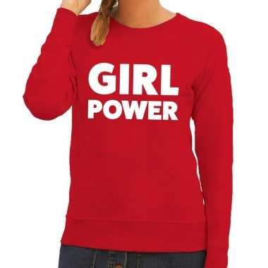 Girl power fun sweater rood voor dames