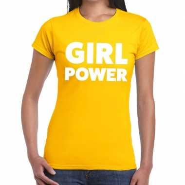Girl power fun t-shirt geel voor dames