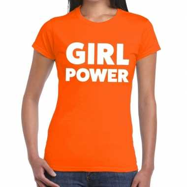 Girl power fun t-shirt oranje voor dames