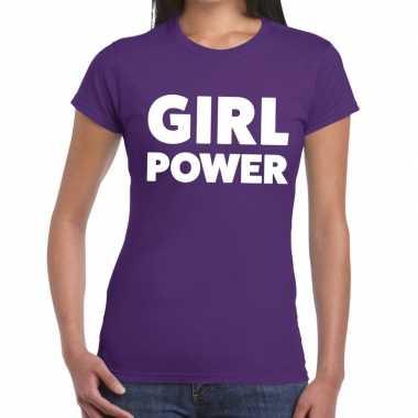 Girl power fun t-shirt paars voor dames