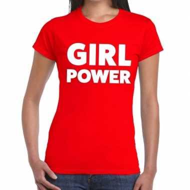 Girl power fun t-shirt rood voor dames