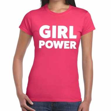 Girl power fun t-shirt roze voor dames