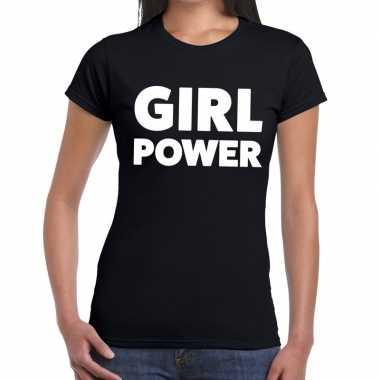 Girl power fun t-shirt zwart voor dames