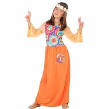 Goedkope hippie flower power verkleedjurkje oranje voor meisjes