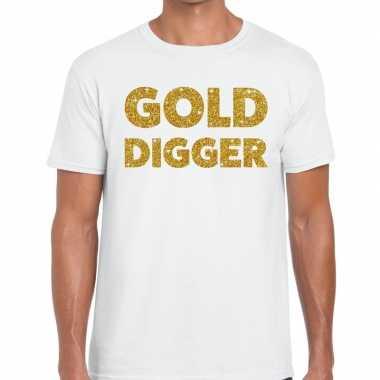 Gold digger fun t-shirt wit voor heren