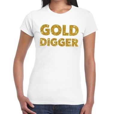 Gold digger goud fun t-shirt wit voor dames