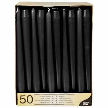 Gotische kaarsen zwart 50 stuks 25 cm