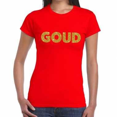 Goud fun t-shirt rood voor dames