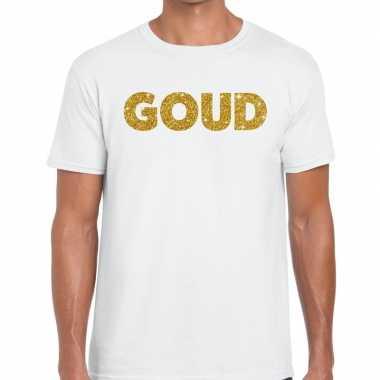 Goud fun t-shirt wit voor heren